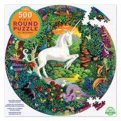 Eeboo Unicorn Garden Round Puzzle 500 Pieces Packaging