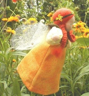 Evi Doll Small Yellow Fairy Girl in Garden