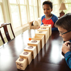 Fat Brain Toys Box and Balls Stacking Game with boys
