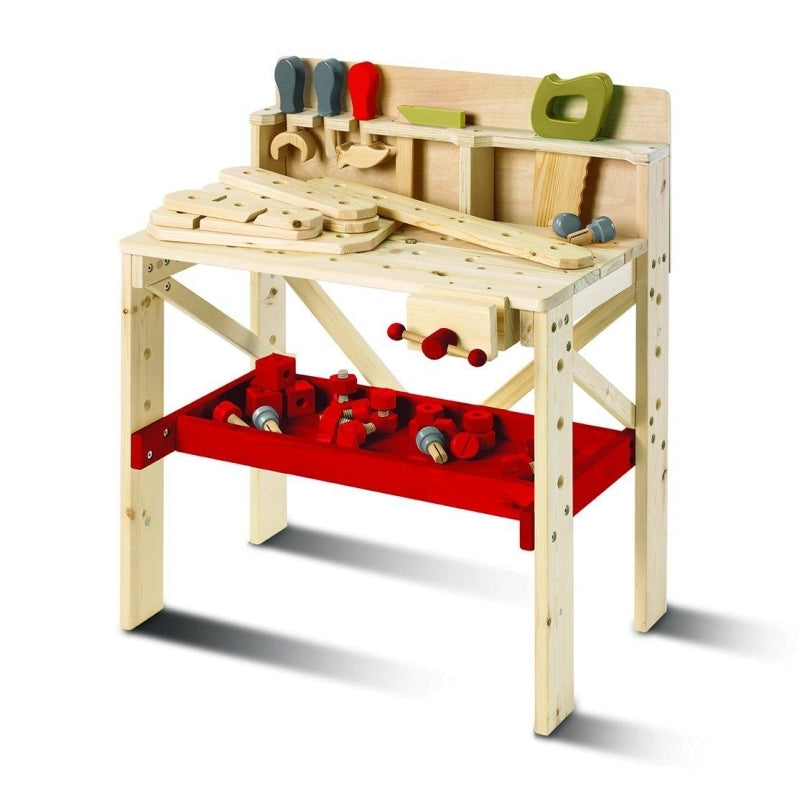 Wooden Work Bench with Tools