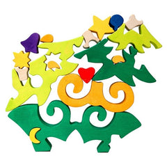 Fauna Wooden Christmas Tree Puzzle Pieces