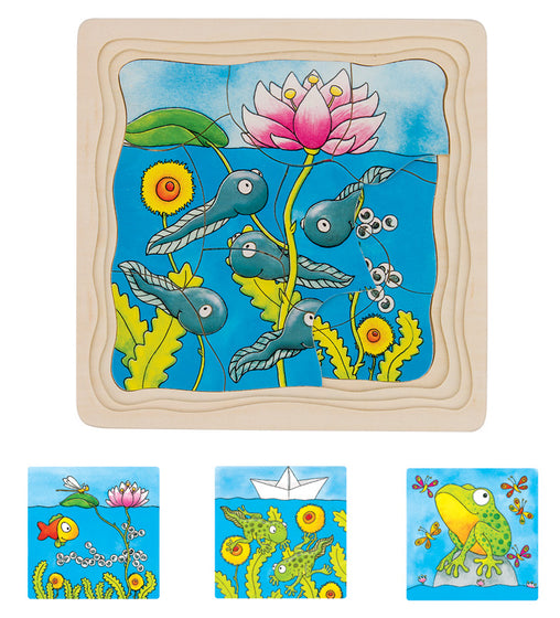 Goki - Frog Lifecycle 4 Layer Wooden Puzzle