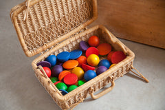 Grapat Round Wooden Shapes Rainbow Play Set Basket