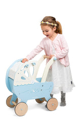 Le Toy Van - Wooden Moonlight Pram with Retractable Canopy