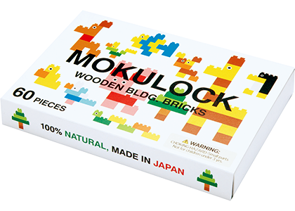 Mokulock Kodomo Wooden Building Bricks 60 Piece Set