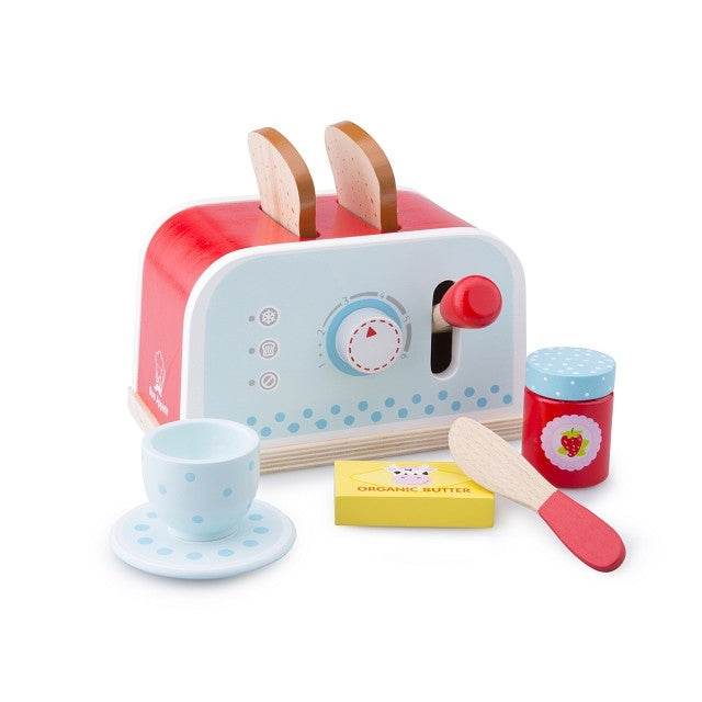 New Classic Toys - Wooden Play Food Pop-up Toaster Set