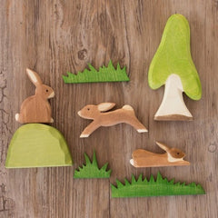 Ostheimer Wooden 3 Piece Grass Set Rabbits Trees