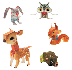 Djeco Pretty Wood Paper Toys Animals