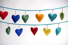 Rainbows & Clover Felt Love Heart Garland Rainbow Hanging