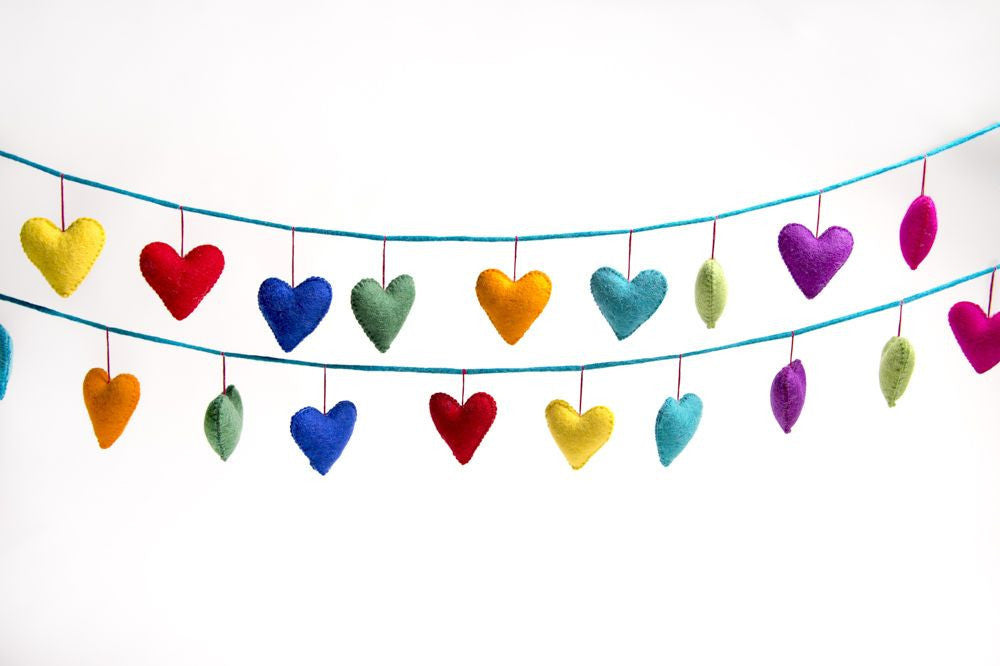 Rainbows & Clover Felt Love Heart Garland Rainbow Display