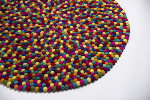 Rainbows & Clover - Felt Ball Rainbow Rug