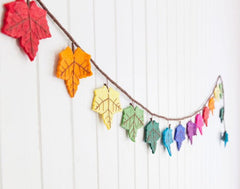 Rainbows & Clover - Felt Rainbow Maple Leaf Garland 2