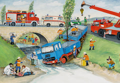 Ravensburger Busy Fire Brigade 2 x 24 Piece Puzzle Truck in River