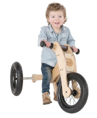 Trybike Wooden 4-in-1 Balance Bike and Trike Brown Boy