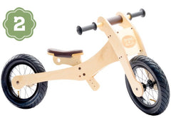 Trybike Wooden 4-in-1 Balance Bike and Trike Brown Low Bicycle