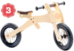 Trybike Wooden 4-in-1 Balance Bike and Trike Brown High Bicycle