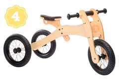 Trybike Wooden 4-in-1 Balance Bike and Trike Brown High Tricycle