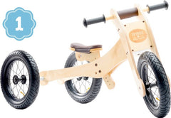 Trybike Wooden 4-in-1 Balance Bike and Trike Brown Low Tricycle