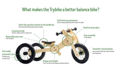 Trybike Wooden 4-in-1 Balance Bike and Trike Brown Features