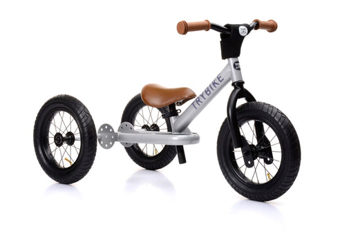 Trybike - Silver Vintage Steel 3-in-1 Balance Bike and Trike