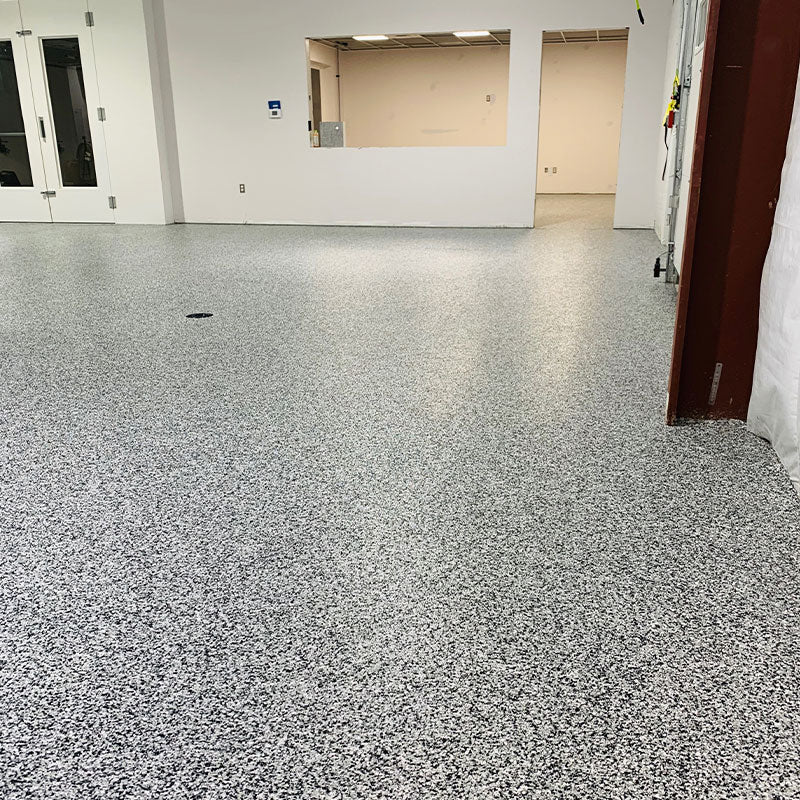 Resinwerks Polyaspartic Chip Floor Coating in Commercial Paint Store