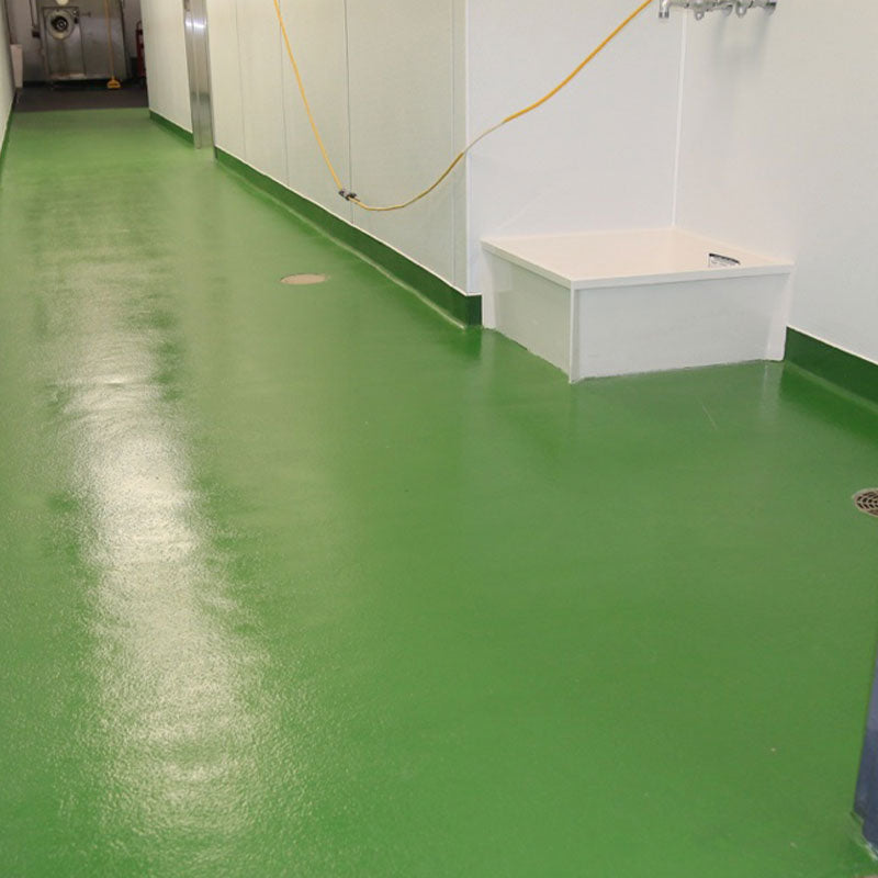 green urethane cement floor with cove