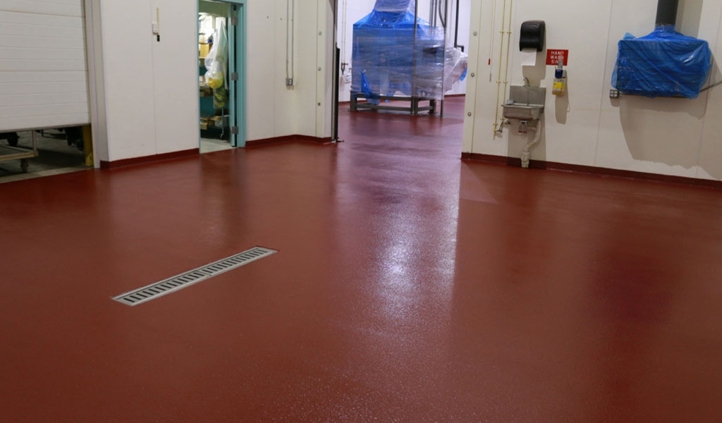 Brick Red Urethane Cement Floor Coating in Industrial Kitchen