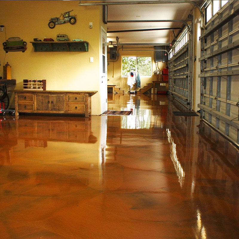 Orange and Brown Metallic Epoxy Floor on Garage Floor