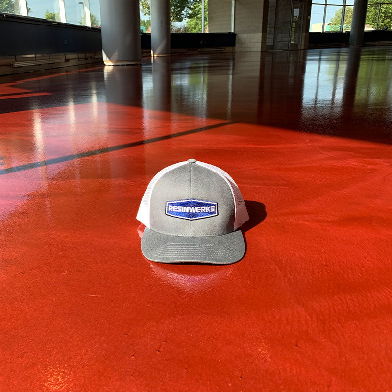 red metallic floor with resinwerks hat