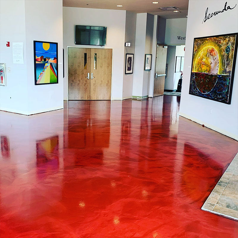 red metallic epoxy floor
