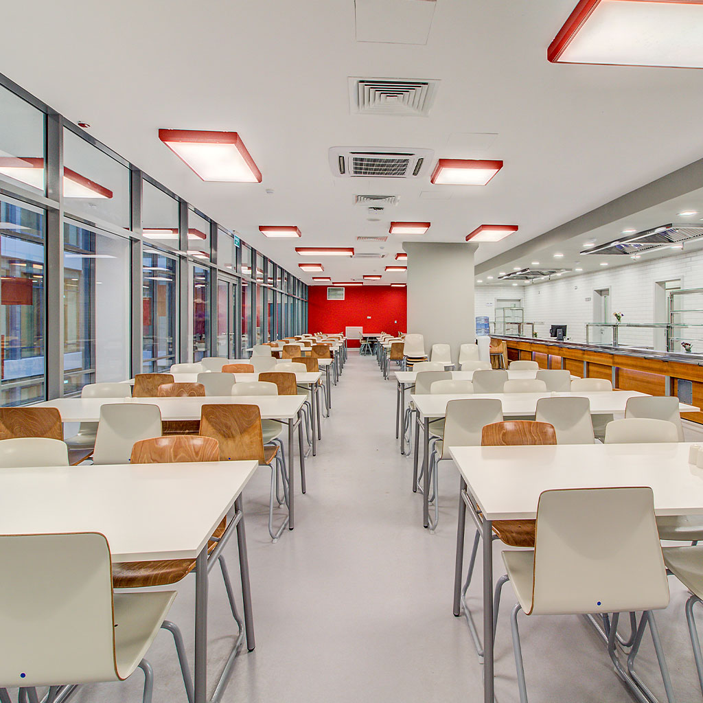 quartz flooring system in cafeteria