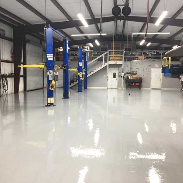 LevelGuard EP 100% solids epoxy floor in mechanical shop