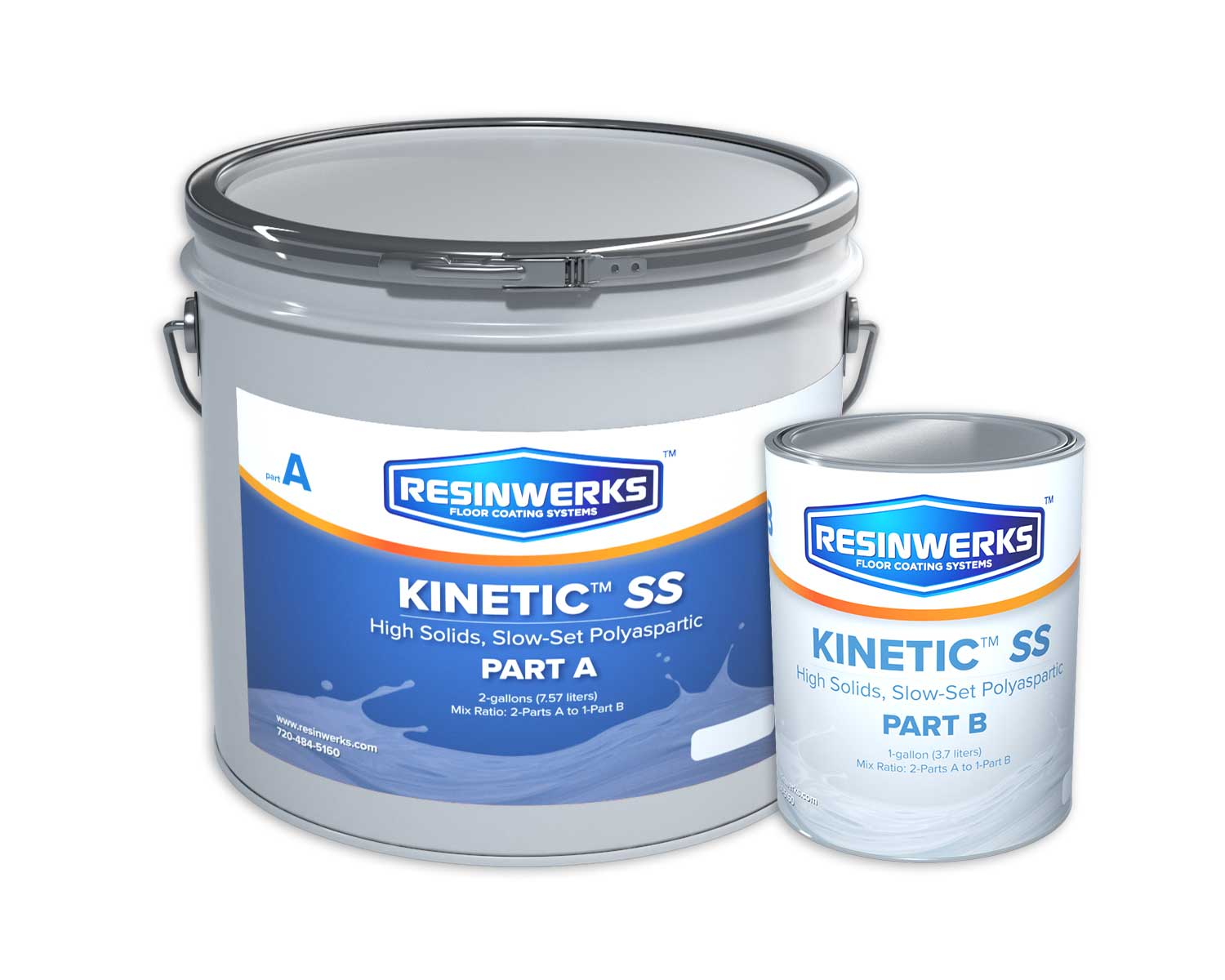 Resinwerks Kinetic HS Slow Cure Polyaspartic Coating 3-Gallon Kit