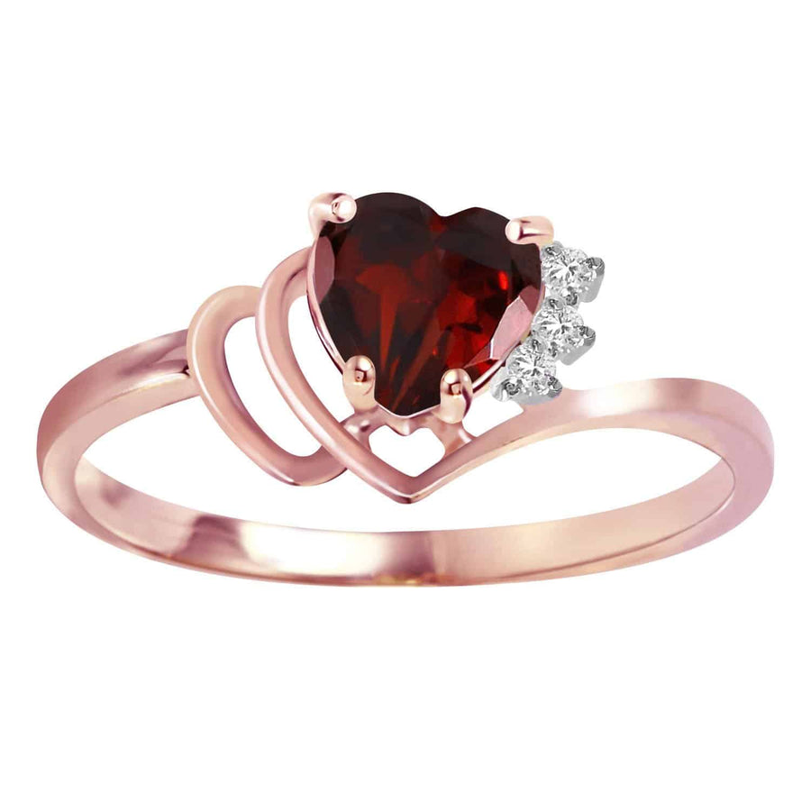 0.97 Carat 14K Solid Rose Gold Ring Natural Diamond Garnet - Ring - valdajewelry - valdajewelry
