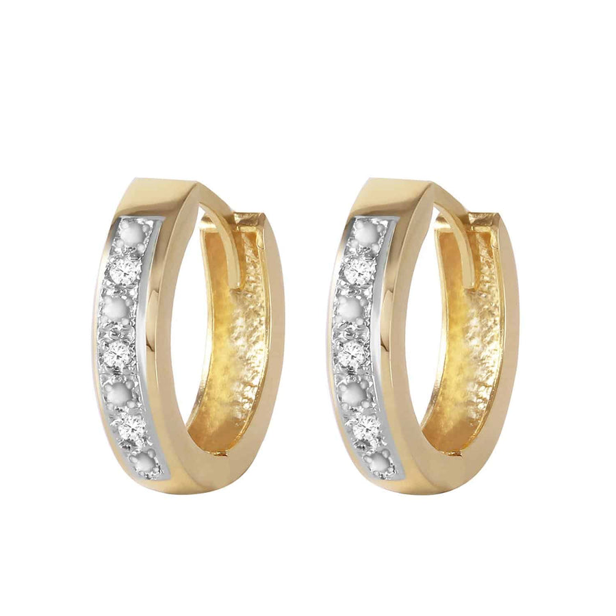 0.04 Carat 14K Solid Yellow Gold Hoop Huggie Earrings Diamond - Earring - valdajewelry - valdajewelry