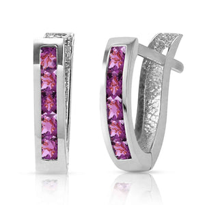 0.85 Carat 14K Solid White Gold Oval Huggie Earrings Purple Amethyst - Earring - valdajewelry - valdajewelry