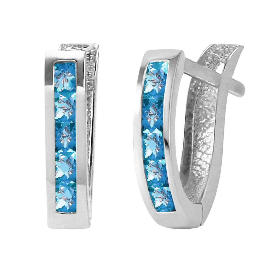 1.2 Carat 14K Solid White Gold Oval Huggie Earrings Blue Topaz