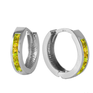 1 Carat 14K Solid White Gold Hoop Huggie Earrings Peridot - Earring - valdajewelry - valdajewelry
