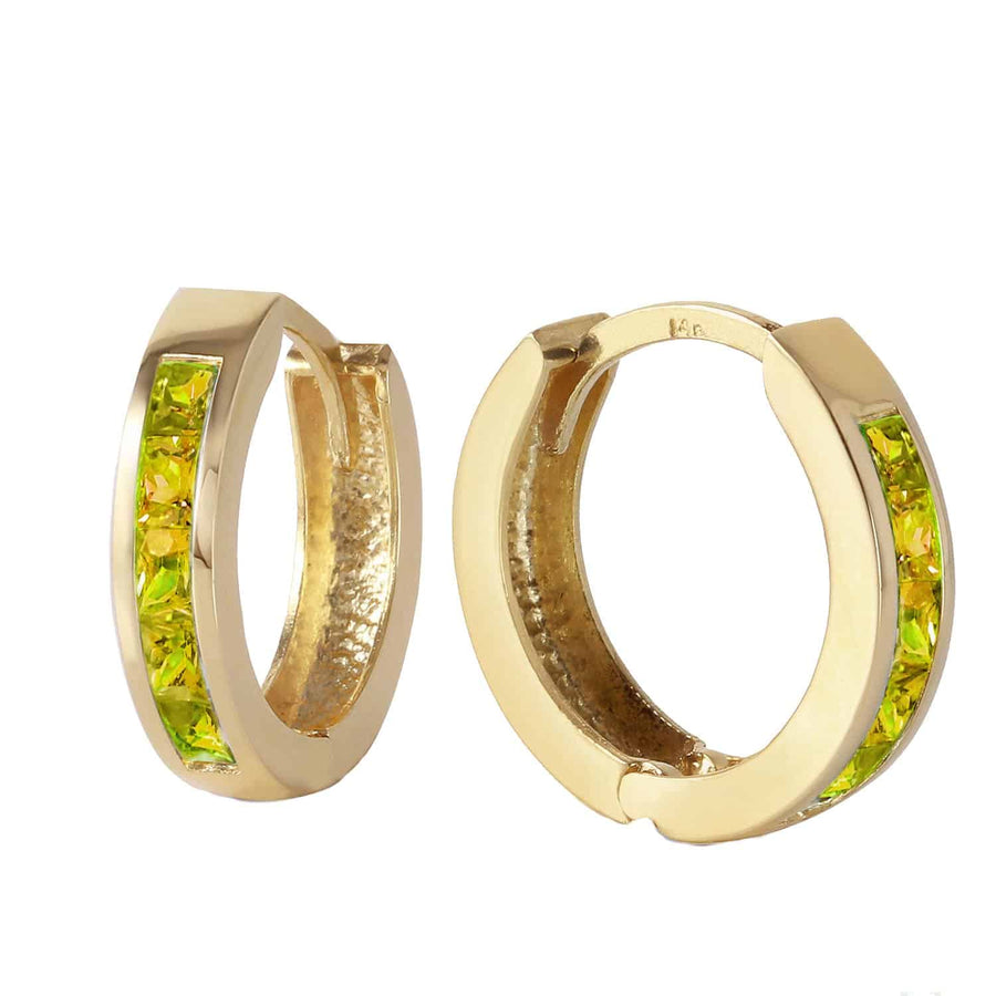 1 Carat 14K Solid Yellow Gold Hoop Huggie Earrings Peridot - Earring - valdajewelry - valdajewelry