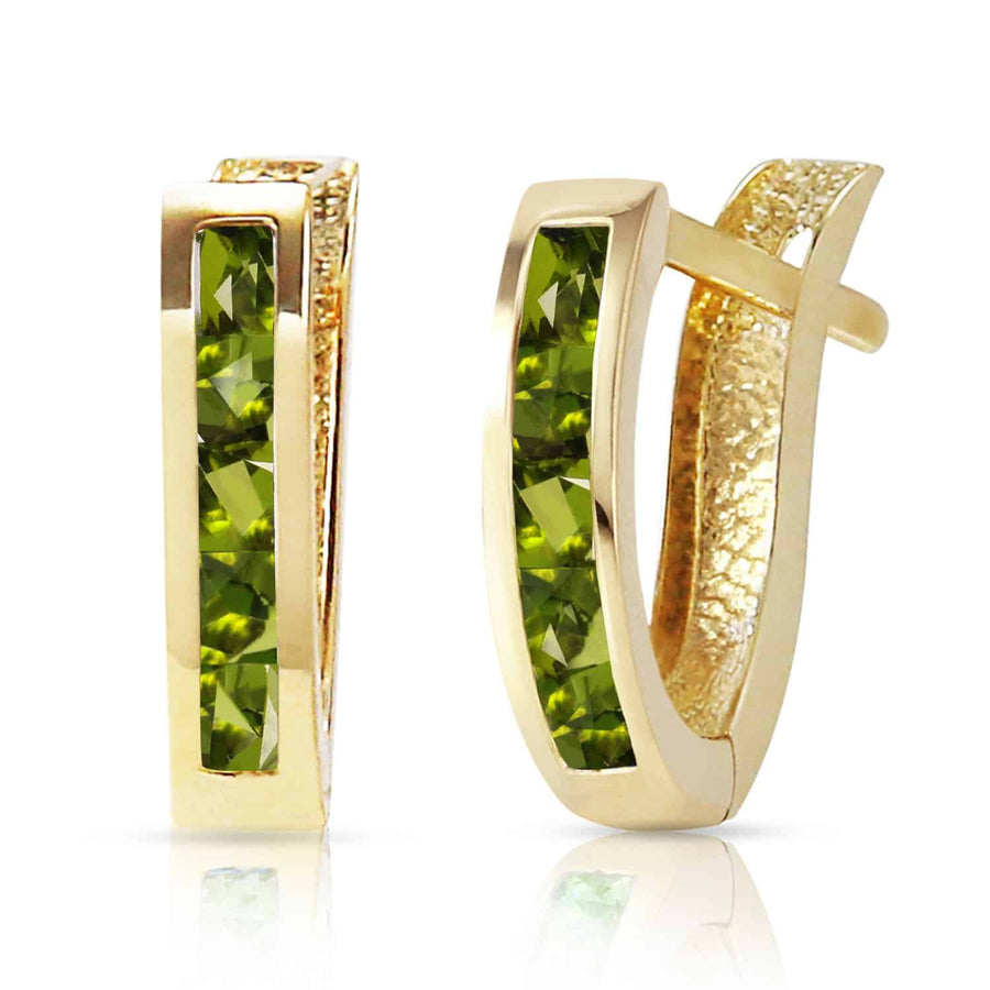 1 Carat 14K Solid Yellow Gold Oval Huggie Earrings Peridot - Earring - valdajewelry - valdajewelry
