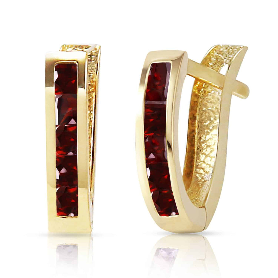 1.3 Carat 14K Solid Yellow Gold Oval Huggie Earrings Garnet