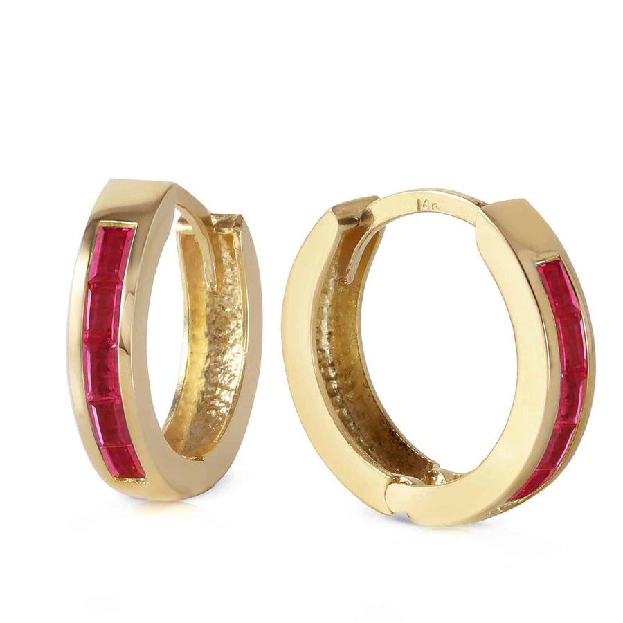 1.3 Carat 14K Solid Yellow Gold Hoop Earrings Natural Ruby