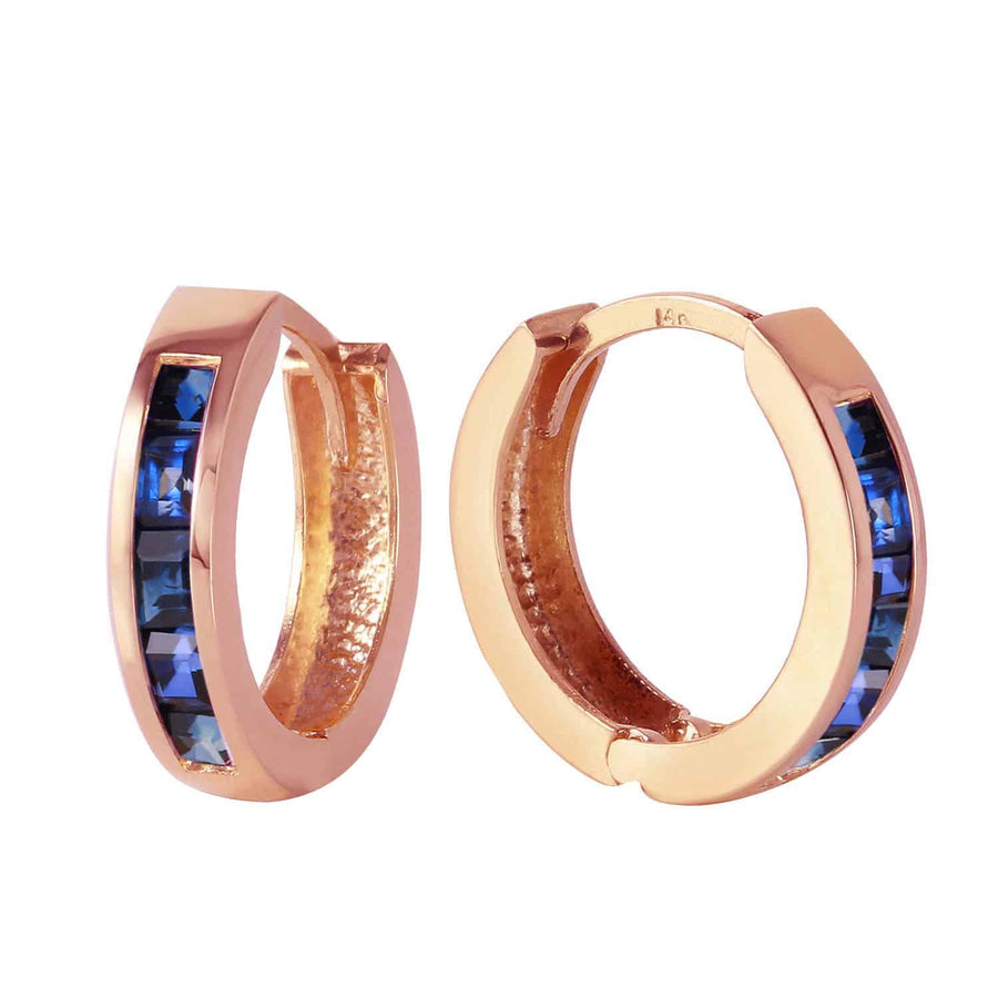 1.3 Carat 14K Solid Rose Gold Hoop Earrings Natural Sapphire