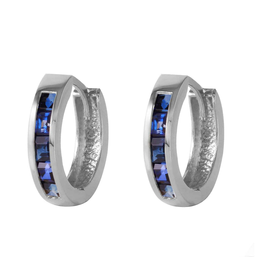 1.3 Carat 14K Solid White Gold Hoop Earrings Natural Sapphire