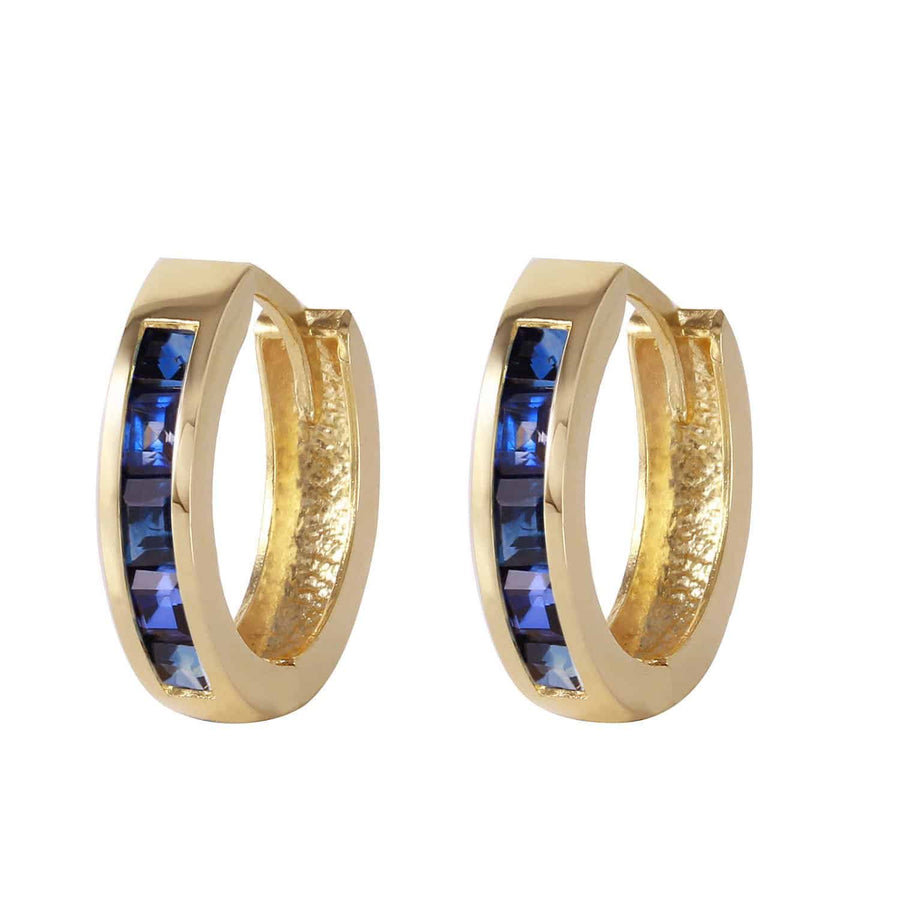 1.3 Carat 14K Solid Yellow Gold Hoop Earrings Natural Sapphire