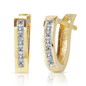 0.04 Carat 14K Solid Yellow Gold Oval Huggie Earrings Diamond - Earring - valdajewelry - valdajewelry