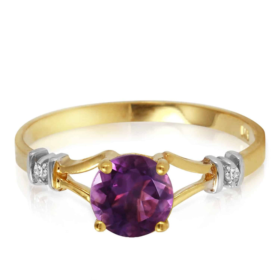 0.92 Carat 14K Solid Yellow Gold Kept Secrets Amethyst Diamond Ring - Ring - valdajewelry - valdajewelry
