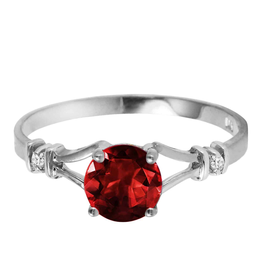 1.07 Carat 14K Solid White Gold Pursuit Of Happiness Garnet Diamond Ring
