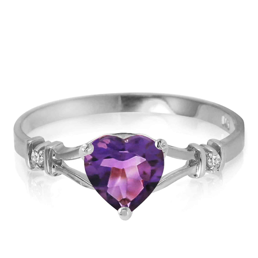 0.47 Carat 14K Solid White Gold Rings Natural Diamond Purple Amethyst - Ring - valdajewelry - valdajewelry