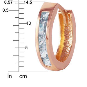 0.85 Carat 14K Solid Rose Gold Hoop Huggie Earrings Aquamarine - Earring - valdajewelry - valdajewelry